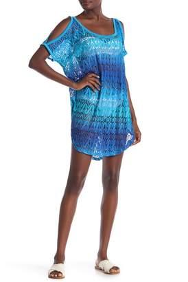 b723e8da4879b Jordan Taylor Ombre Cold Shoulder Crochet Cover-Up Tunic