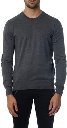 Maison Margiela Grey Mixed Fabric Knitwear With Suede Patches Details