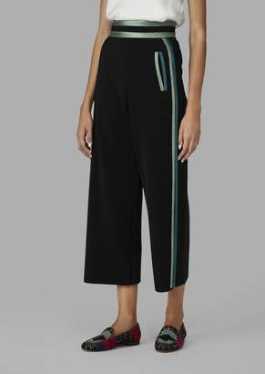 Giorgio Armani Cropped Cady Trousers With Two-Tone Satin Details