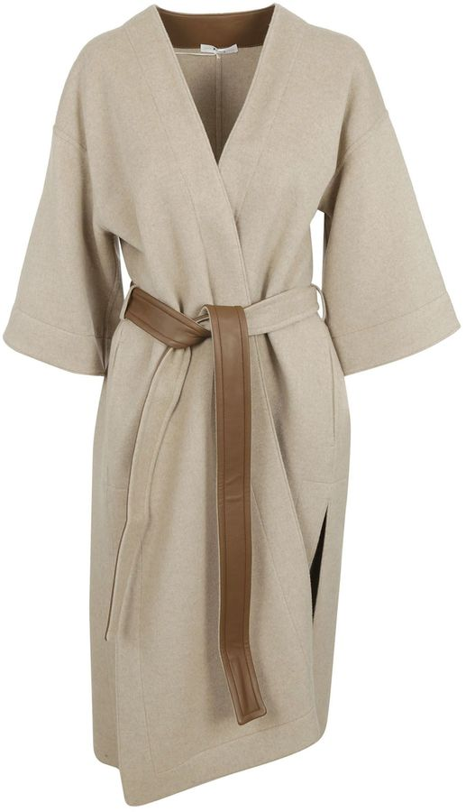 CelineBelted Coat From Celine: Beige Belted Coat With Wide Cuffs, Belt On Waist And Solid Colour