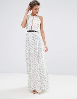True Decadence Printed Maxi Dress With Eyelet Detail Waist