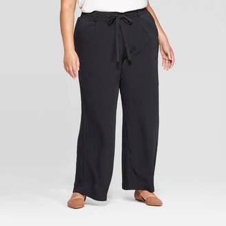 A New Day Women's Plus Size Tie Waist Wide Leg Pant