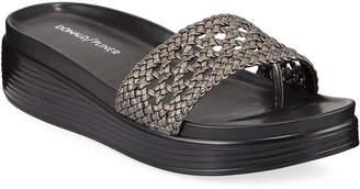Donald J Pliner Woven Metallic Low-Platform Sandals