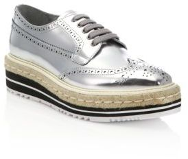 Prada Metallic Leather Creeper Brogue Espadrilles $950 thestylecure.com