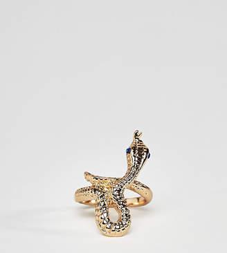 Glamorous gold snake statement ring