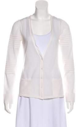 Calvin Klein Collection Long Sleeve Semi-Sheer Cardigan