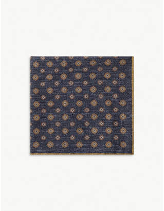 Eleventy Floral wool-blend pocket square