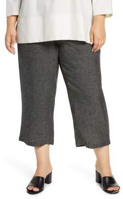 Eileen Fisher Organic Linen Blend Straight Leg Crop Pants