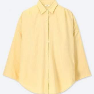 Uniqlo WOMEN Linen Blended 3/4 Sleeve Blouse