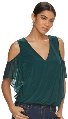 Women's Jennifer Lopez Cold-Shoulder Crossover Top $48 thestylecure.com