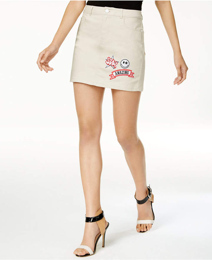 Guess Cotton Patched Mini Skirt