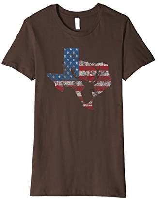 Texas Deer Hunting Flag Distressed Patriotic T-Shirt
