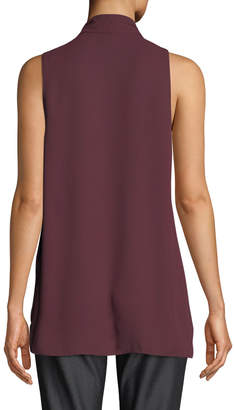 Tahari ASL V-Neck Sleeveless Draped Blouse