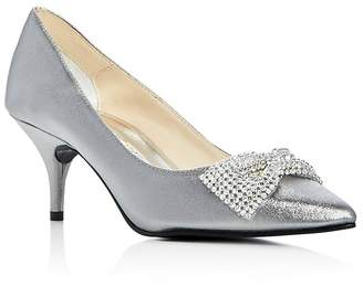 Caparros E-Bow Embellished Satin Pointed Toe Pumps