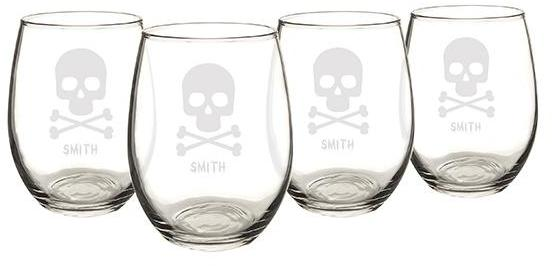 Personalized Skull and Crossbones Stemless Wine Glasses - Set of 4