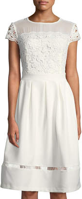 Nanette Lepore Nanette Cap-Sleeve Lace Fit & Flare Dress