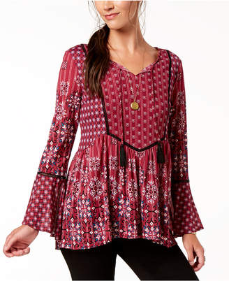 Style&Co. Style & Co Printed Babydoll Peasant Top, Created for Macy's