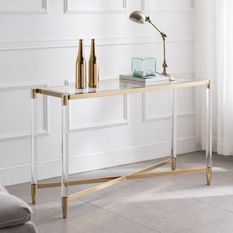 Southern Enterprises Colton Acrylic Console Table, Glam, Plated Gold