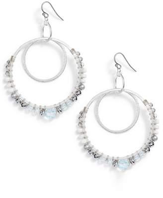 Chan Luu Semiprecious Stone Double Hoop Drop Earrings