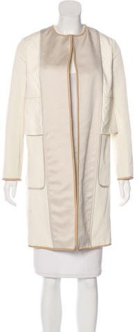 Celine Céline Leather-Trimmed Knee-Length Coat