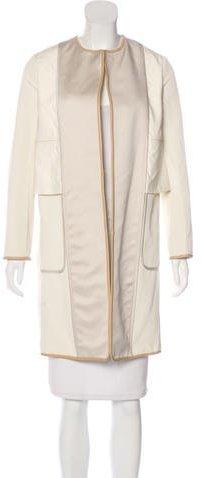 CelineCéline Leather-Trimmed Knee-Length Coat