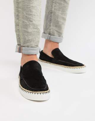 Asos Design DESIGN loafers in black suede with aztec detail