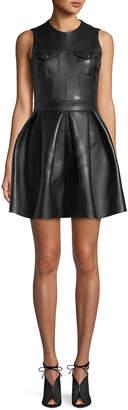 David Koma Lamb Leather Fit-and-Flare Pleated Mini Dress