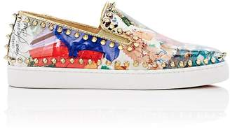 "Christian Louboutin Women's ""Pik Boat Woman Flat"" Patent Leather Sneakers"