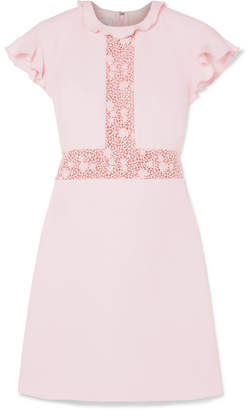 Giambattista Valli Ruffled Lace-paneled Crepe Mini Dress - Pink