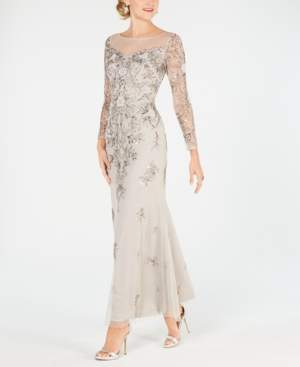 Adrianna Papell Long-Sleeve Embellished Gown