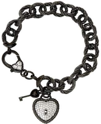 "Judith Ripka Verona 7-1/4"" Heart & Key Charm Bracelet 33.4 g Sterling"