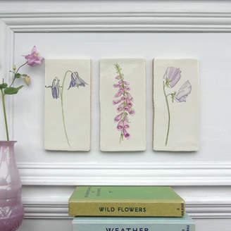 littlebirdydesigns Summer Flowers Ceramic Tile Wall Art