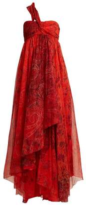 Etro Chennai One Shoulder Paisley Print Silk Dress - Womens - Red Print