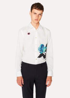 Paul Smith Men's Slim-Fit White 'Rose' Print Shirt