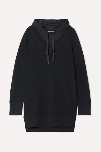 Hooded Layered Wool And Cotton-blend Jersey Mini Dress - Black