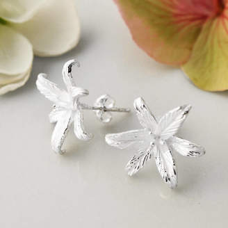 445312106 Martha Jackson Sterling Silver Silver Lily Flower Star Stud Earrings