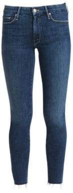 Mother Looker Ankle-Fray Skinny Jeans