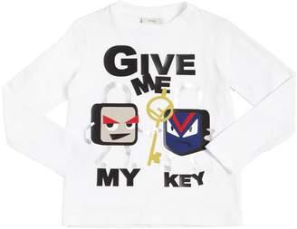 Fendi Key Lock Printed Cotton Jersey T-Shirt