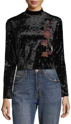 Band of Gypsies Embroidered Velvet Mock-Neck Tee