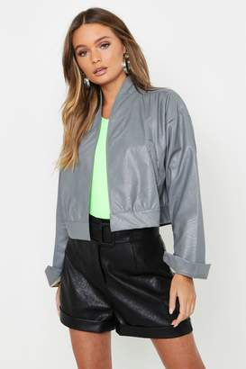boohoo Crop Faux Leather Jacket