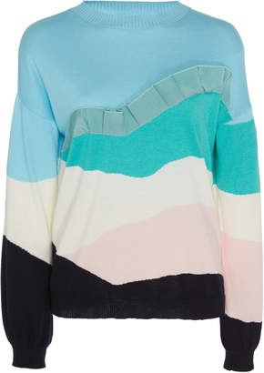 DELPOZO Long-Sleeve Cotton-Cashmere Ruffle Sweater