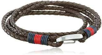Tommy Hilfiger 2700606 Men's Stainless-Steel Braided Leather Stack Bracelet, Brown