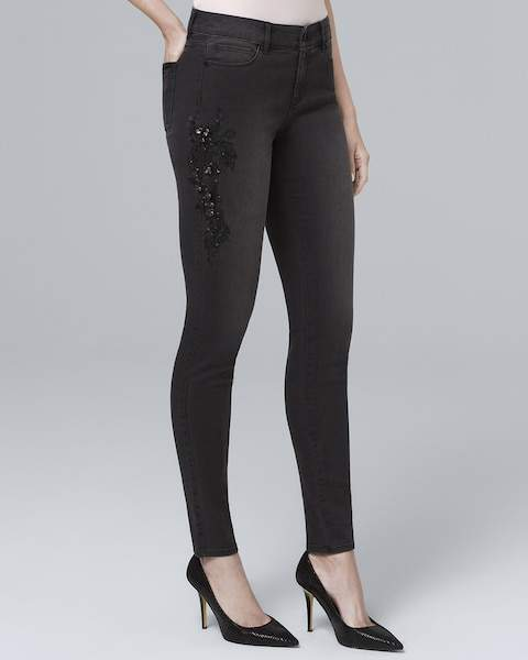 Whbm Classic-Rise Embellished Skinny Ankle Jeans