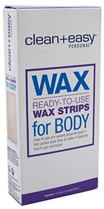 Clean + Easy Clean+Easy Wax Strips Body 12 Count Ready To Use 24 Applications (3 Pack)