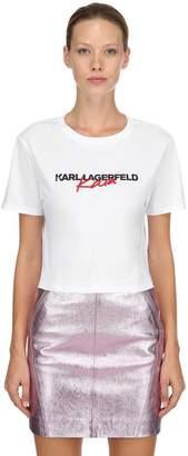 Karl Lagerfeld X Kaia Print Cropped Jersey T-Shirt