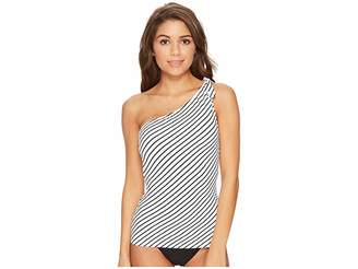 Lauren Ralph Lauren City Stripe Asymmetrical Tie One Shoulder Tankini Top