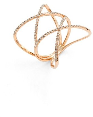 Women's Bony Levy Diamond Double Crisscross Ring (Nordstrom Exclusive) $1,595 thestylecure.com
