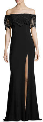 Faviana Off-the-Shoulder Stretch Crepe Gown, Black