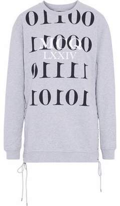 McQ Lace-Up Printed French Cotton-Terry Sweatshirt