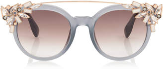 85cec277c9f3 Jimmy Choo VIVY Grey Round Framed Sunglasses with Detachable Jewel Clip On